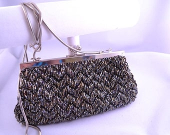 Iridescent Dark Brown Bronze Beaded Evening Bag Chain Shoulder Strap Womens Birthday Gift or Vintage Gift for Her