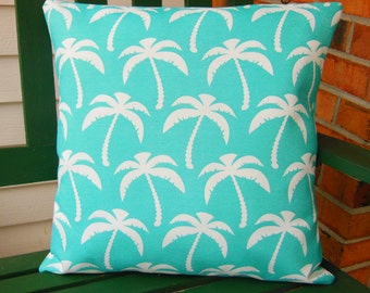OUTDOOR Aqua White Beach Throw Pillow Covers Decorative Coastal Home Decor Nautical Aqua Cushions Two 18 Inch Pillow for Couch Bed Cushion