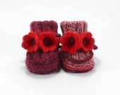 Baby Booties, Hand Knitted Baby Boots with Crochet Bell Flowers, Red Knitted Baby Shoes , 0 to 3 months