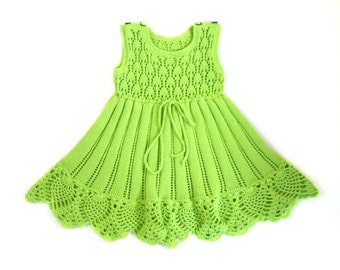 Knitted Cotton Baby Dress, Lace Knitted Baby Dress with Crochet Lace Edging, Lacy Cotton Summer Dress,  - Light Green, 12 - 18 months