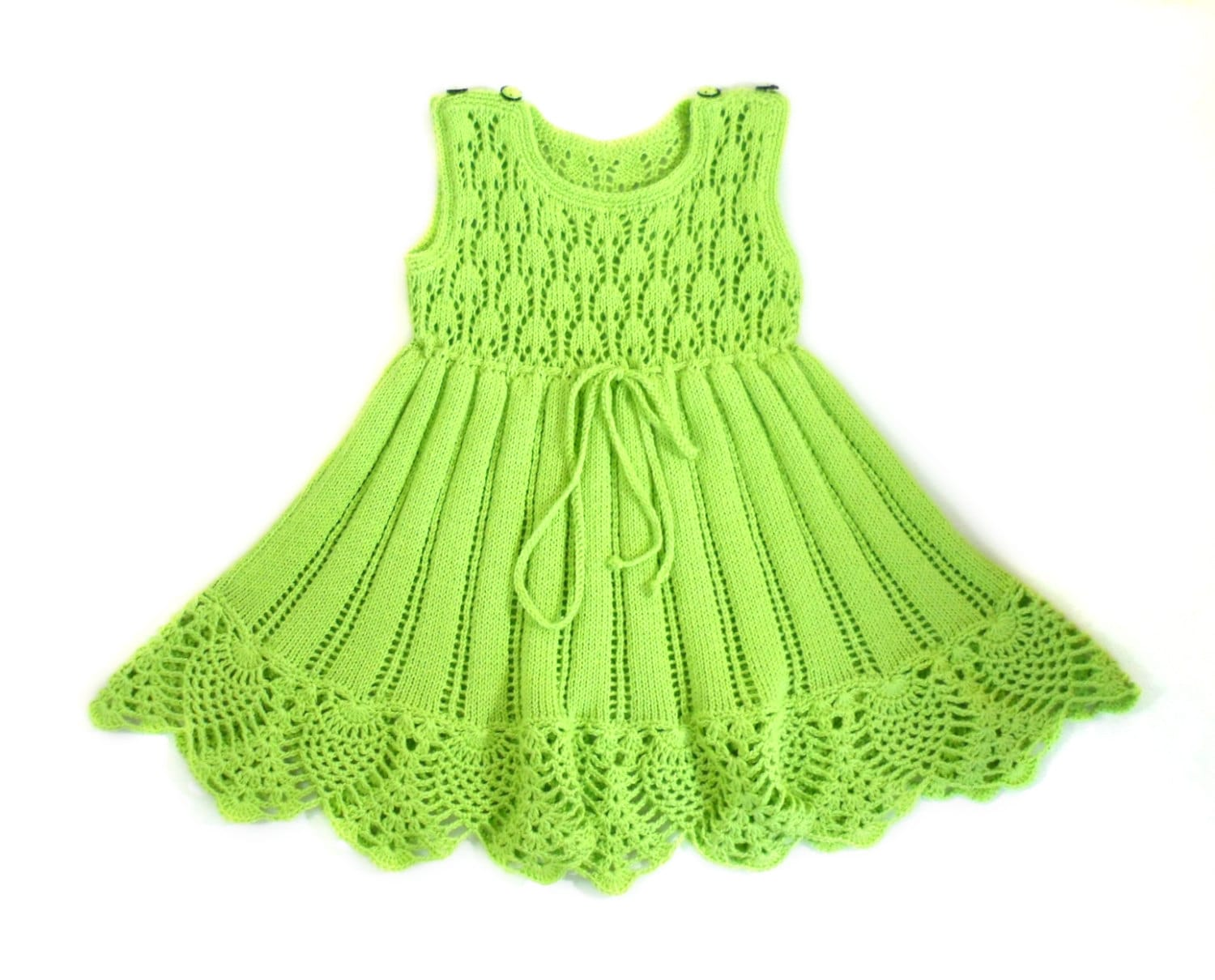 Knitting Dress Baby : Knitted cotton baby dress lace with