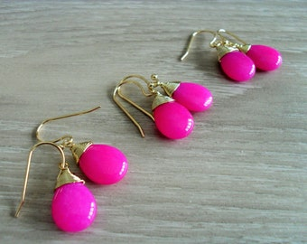BRIDESMAID SET of 3 Pairs Wire Wrapped  Fuchsia Jade Drop EARRINGS  / Hot Pink / Semi Precious Stone / Gold / Dangle / Bridesmaid / Gift box