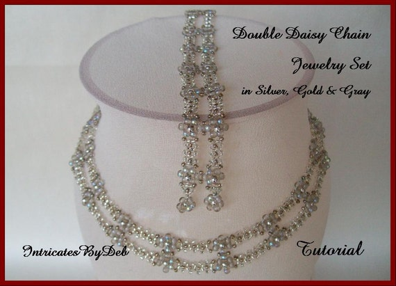 Tutorial Beaded Daisy Chain Necklace and Bracelet Jewelry Set - Beading Pattern, Beadweaving Instructions, PDF, Do It Yourself, Download