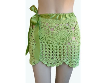 Light green crocheted skirt, handmade,beach