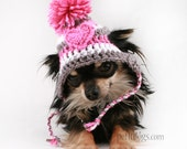 Dog Hat crochet Pink and Grey Heart Stripe ear flap hat for dogs