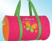 Quilted Duffle Bag - Personalized and Embroidered - BUTTERFLY