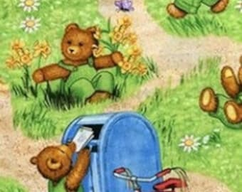 Corduroy Bear Play Time Fabric 1 Yard
