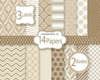 Kraft Digital Paper and clipart pack, damask digital paper, polka dots wave chevron patterns - Pack 591