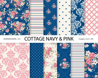 Shabby Chic Digital paper pack in navy blue and pink, digital backgrounds, Cottage Papers, 12 jpg files 12x12 - INSTANT DOWNLOAD Pack 613