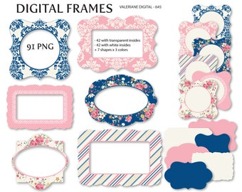 shabby chic digital frames navy blue and pink cottage instant download pack 645