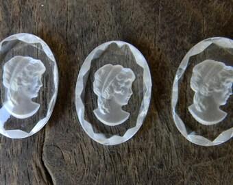 Antique Art Deco 1920s Faceted Glass Intaglio Cameo Pieces Small