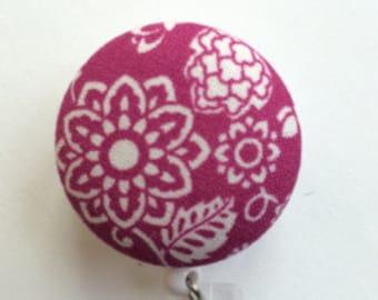 Orchid Badge Reel - Badge Holder - ID Badge Holder - Retractable Badge - Orchid Color - Nurse Gift - Teacher Gift - Fabric Badge Reel