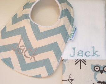 Personalized Monogrammed CHEVRON Baby Boy Bib and Burp Cloth Set