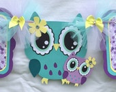 Owl banner, owl baby shower banner, its a girl banner, purple, lavender, yellow and teal