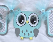 Owl baby shower banner, owl banner, gray and blue, owl decorations, photo prop, its a boy banner, boy owl banner, boy baby shower banner