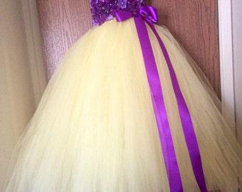Beautiful Plum Purple yellow canary Hydrangea tutu dress - flower girl dress - birthday dress - choose your dress color - size 6-12