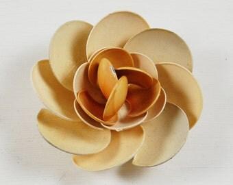 Vintage Beige Enamel Flower Brooch