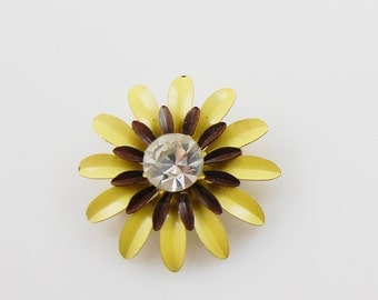 Vintage Yellow Brown and Faux Diamond Flower Brooch