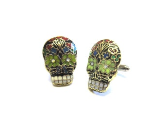Sugar Skull Cufflinks Wedding Cuff Links Day of the Dead Jewelry