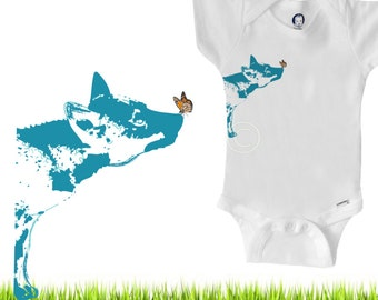 Organic baby clothes, wolf dog with butterfly, gender neutral