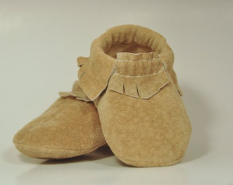 Eco Friendly Tan Suede Baby Moccasins