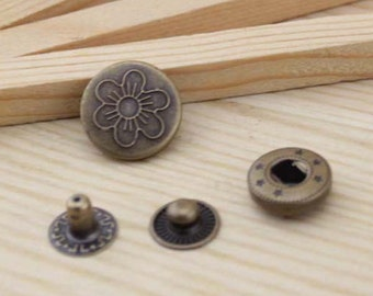 10sets antique bronze six-leaves flower Snap button S44 (requries 633 tool)