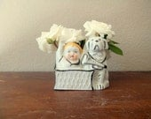 Boy and Dog Planter, White and Navy Blue, Nautical