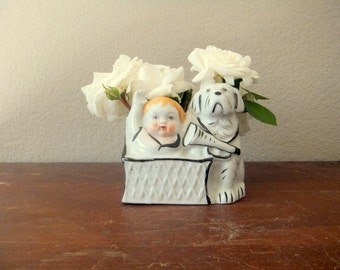 Small Boy and Dog Planter, White and Navy Blue, St. Bernard, Ceramic Mid Century, Nautical