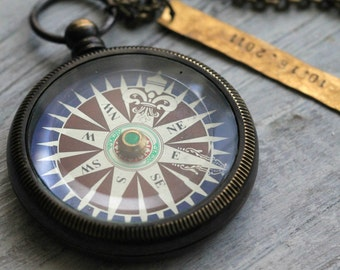 Colorful Brass Pocket Compass Necklace with Spinning Rose CP23 For Both Men and Women