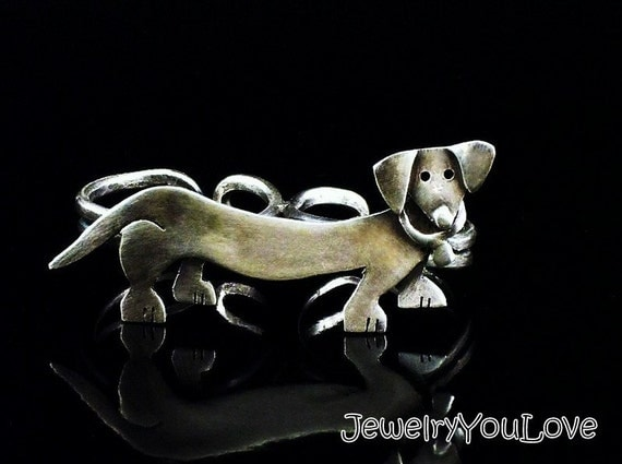 Sterling Silver Dachshund Two Fingers Ring - DiDi