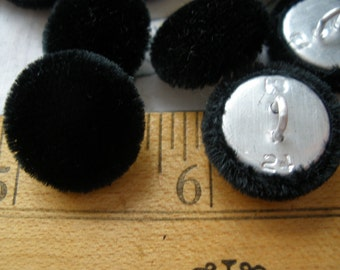 """Black Velour Fabric Covered Buttons pin shank 24L Velvet 5/8"""" 16MM Faux Fur Kitsch & Cool sewing craft scrapbook eco friendly 10 each"""
