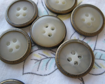"""15MM Metal rim buttons 24L 5/8"""" Etched Antique brass with plastic style 4-hole sew on translucent buttons"""