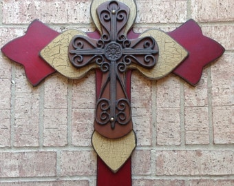 Extra Large Red Wood Cross, Camel and Cinnamon Wood Cross