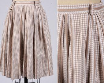 1950s skirt/ 50s gingham cotton full skirt/small