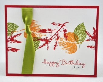 Happy Birthday Greeting Card, Leaves, Fall, Autumn, Green, Orange, Yellow, Satin Ribbon, Rhinestones, Stamped, Blank Inside