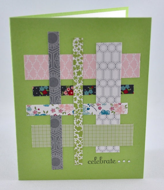 Celebrate Greeting Card, Birthday, Green, Pink, Grey, Gray, White, Strips, Flowers, Patterns, Stamped, Blank Inside, For Her, Criss-Cross