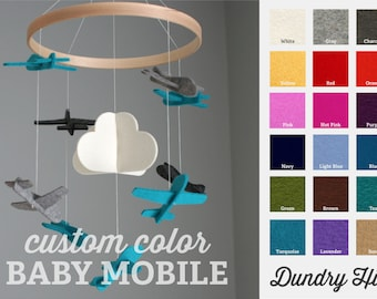 Airplane Mobile - 100% Merino Wool Felt - Eco-Friendly - Lightfast Colors - Heirloom Quality Baby Mobile - Choose your own custom COLORS!