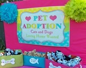 Pet Adoption Sign Cat and Dog Sign Printable - Kitty and Puppy - Meow, Sit Stay and Play Collection