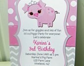 Pig Princess Invitation Printable or Printed with FREE SHIPPING - Birthday, Baby Shower - Royal Piggy Fun Collection