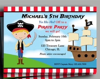 Pirate Invitation Printable or Printed with FREE SHIPPING - You Pick Hair Color/ Skin Tone - Pirate Birthday Collection