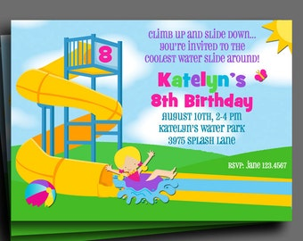 Girls Water Park Invitation Printable or Printed with FREE SHIPPING - You Pick Hair Color/Skin Tone - Twisty Waterslide Collection