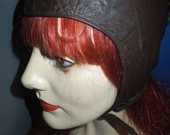 SALE! Vintage 1940s Brown Leather Eaglet Aviator Motorcycle Helmet