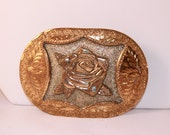 Awesome Worn Vintage Rose Belt Buckle Silversmith Collection Hand Made Hand Engraved FREE USA Shipping