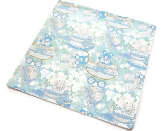 Vintage Wrapping Paper - Baby Blue Pull Gift Wrap - Laurel - One Sheet