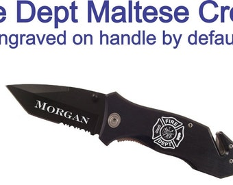 Personalized Black Firefighter Rescue Knife - Customized Maltese Cross and Text Firefighter Knife - Seatbelt Cutter and Glass Breaker Knife