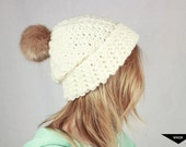 The Snow Bunny Cream Slouchy Chunky OOAK Crochet Beanie // Cream Hat with Fur Pom Pom