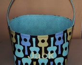 Fabric Easter Basket – Groovy Guitars in Aqua, Blue and Green on Dark Brown Background - Personalization Included - Great Storage Bin
