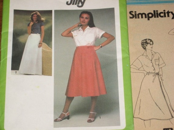 Simplicity 8860 Wrap Skirt Maxi Midi Length Side Tie Women's Vintage 1970s Easy Plus Size Jiffy Sewing Pattern Waist 32 34 Factory Folds