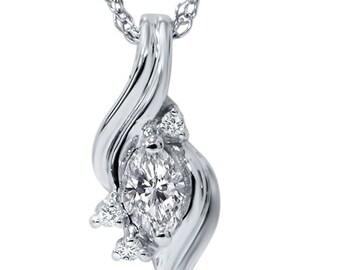 Marquise Diamond Solitaire Pendant 14K White Gold