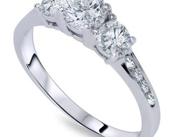 Diamond .50CT 3-Stone Engagement Ring 14K White Gold
